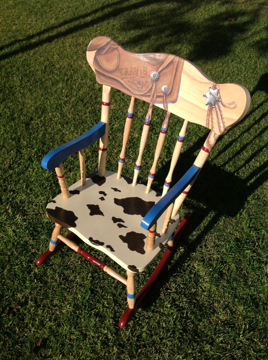 Painted kids rocking chair - Custom Made Child S Hand Painted Western Rocking Chair