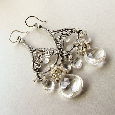 Custom Made Large Chandelier Earrings, Sterling Silver, Wedding