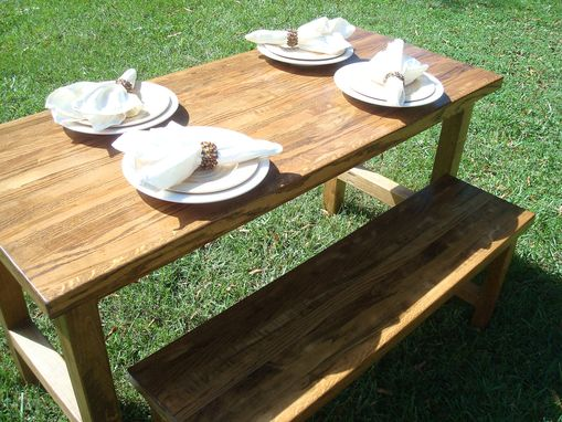 Custom Made Reclaimed Wood Table And Bench