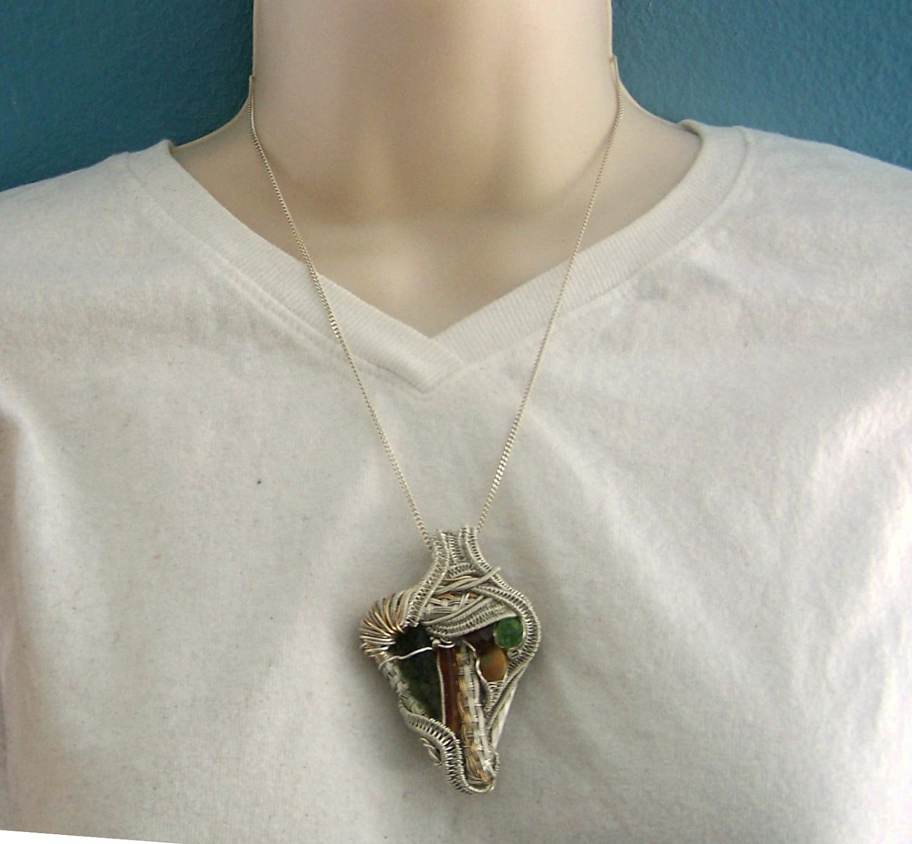 Custom Made Wire Wrap Crystal Gem Mineral Pendant Necklace ...