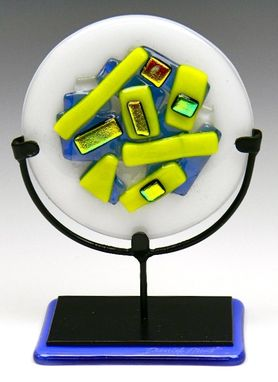 Custom Made Colorful And Contemporary Fused Glass Rondos