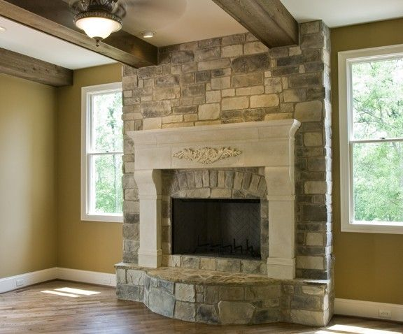 Hand Made Custom Cast Limestone Mantel Surround By Stone
