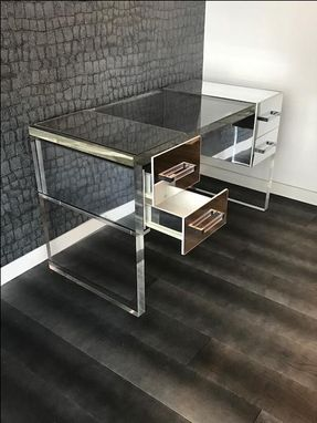 Custom Made Acrylic Dek - Thick Slab Leg, Mirror Drawer Finish - Hand Crafted, Made To Order, Custom Sizing