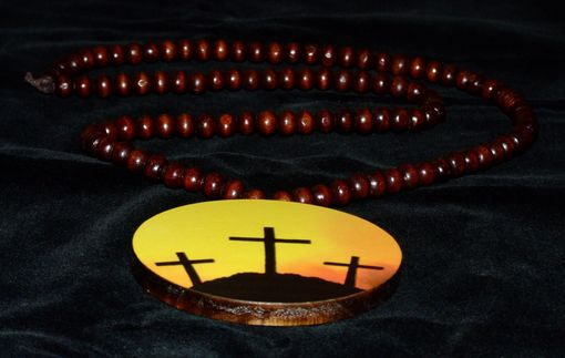 Custom Made Old Wooden Cross On Calvary Hill At Sunset Necklace/Pendant