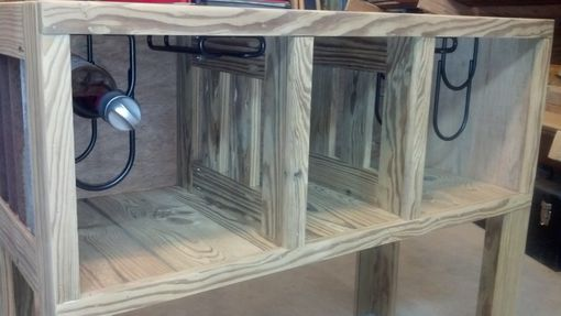 Custom Made Side Table With Wine Bottle & Glass Storage