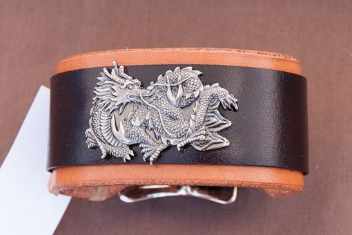 Custom Made Leather Cuff Bracelet Dragon