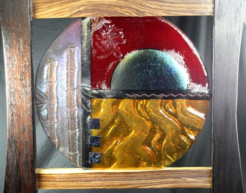 "Custom Made Orient-Inspired Fused Glass Sculpture ""Tranquil Sunset"""