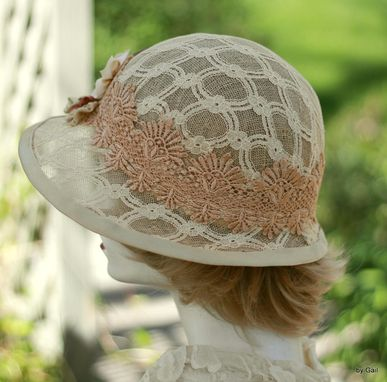 Custom Made Renaissance Tudor Muffin Hat In Ivory Jacquard Fabric With Elegant Handmade Flowers
