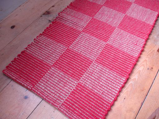 Custom Made Red Beige Hand-Woven Wool Check Rug 25 In By 50 In