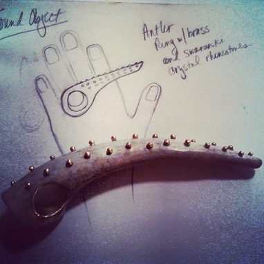 Custom Made Studded Antler Ring