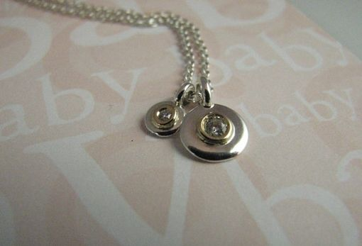 Custom Made Mom And Baby Dainty Sterling Tags With Diamonds Set In 14kt Gold Necklace