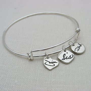 Custom Made Personalized Sterling Silver Charms On A Silver Adjustable Bangle Bracelet