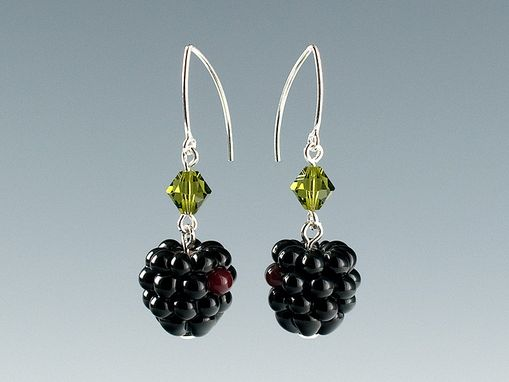 Custom Made Realistic Glass Blackberry Earrings On Marquise Wires With Swarovski Elements Crystals