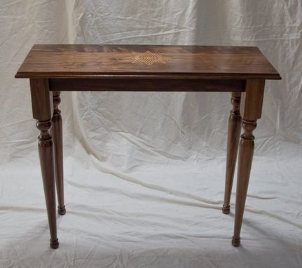 Custom Made Console Table - Black Walnut With Handbut Inlay