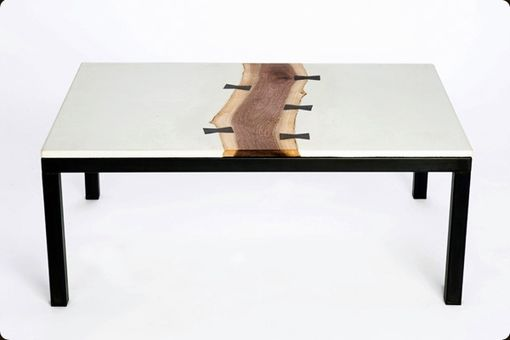 Custom Made 'Butterfly' Concrete, Walnut, And Steel Coffee Table