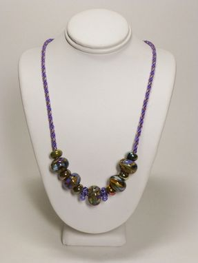 Custom Made Set - Tanzanite, Copper And Sage Kumihimo Necklace With Lampwork Beads And Earrings