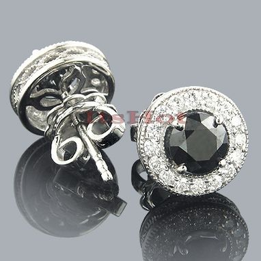 Custom Made Black Diamond Stud Earrings