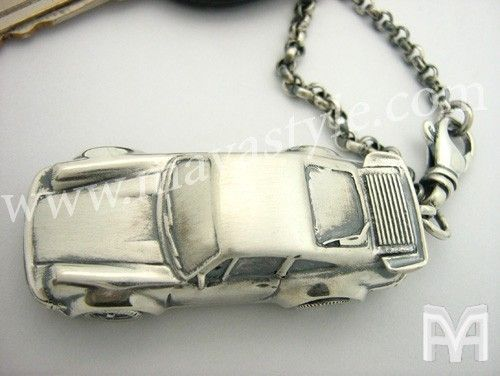 Custom Made Sterling Silver Porsche Car Keychain