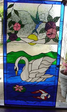 Custom Made Pretty Swan & Flowers Stained Glass Window
