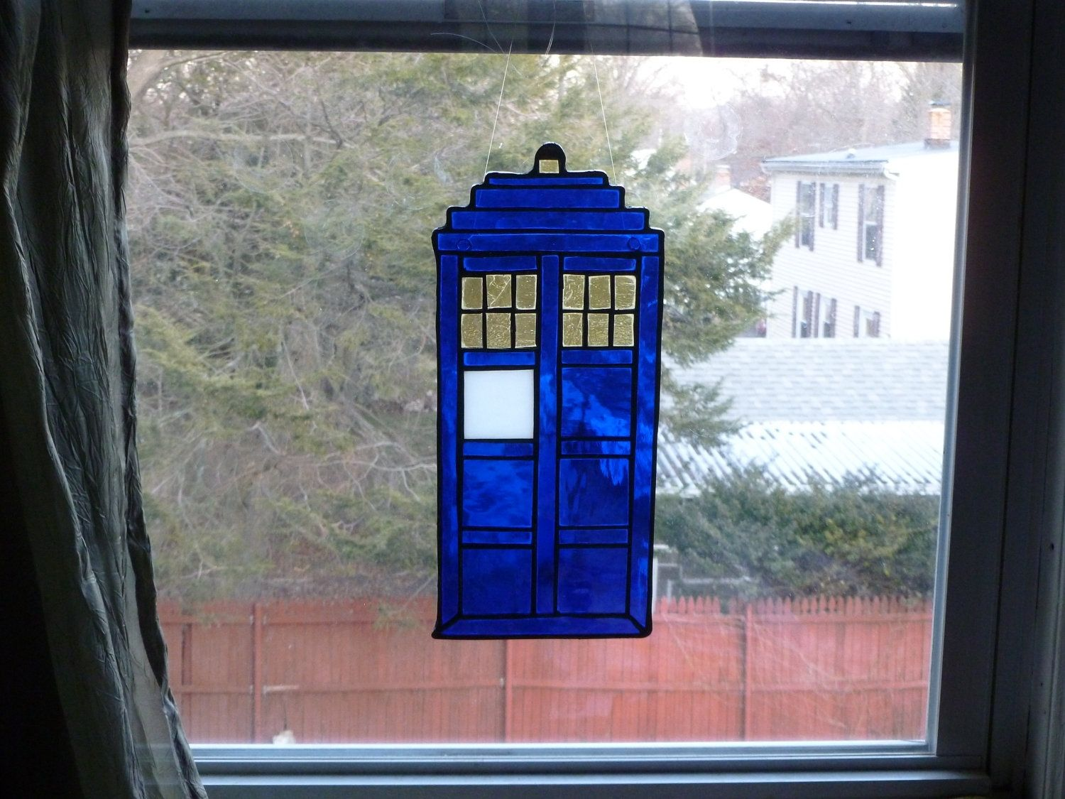 Buy A Custom Fabulous Blue And Silver Tardis Stained Glass