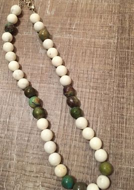Custom Made White Howlite Beaded Necklace With Turquoise
