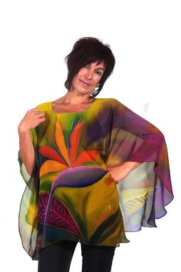 Custom Made Hand Painted Silk Crepe Georgette Poncho, Bird Of Paradise