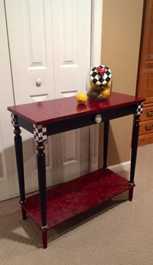 Custom Made Hand Painted Console Or Sofa Table Black White Check Marbled Custom Burgundy Gold Black