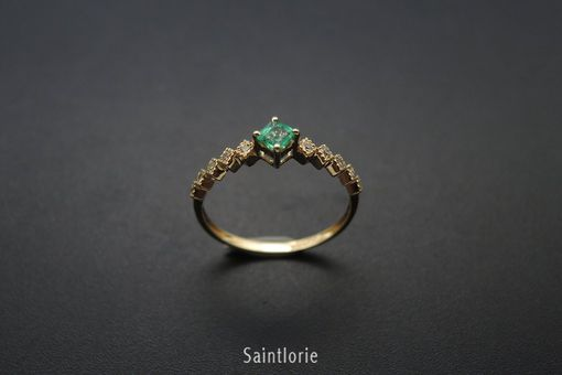 Custom Made 0.2 Carat Emerald Engagement Ring