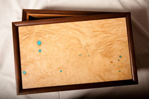 Custom Made Radius Hand Hewn Walnut Humidor With Figured Ash Top And Turquoise Inlay