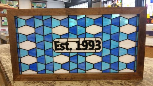 Custom Made Blue Geometric-Stained Glass Panel(P-158)