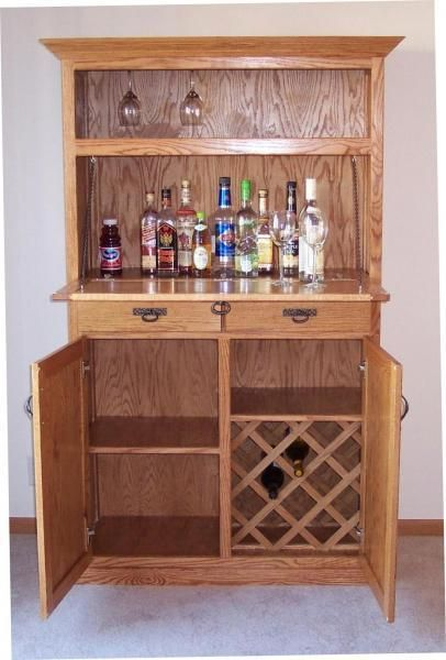 Custom Made Oak Liquor Cabinet