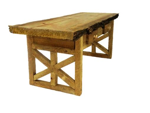 Custom Made Custom Made Rustic Star Sided Split Tree Coffee Table
