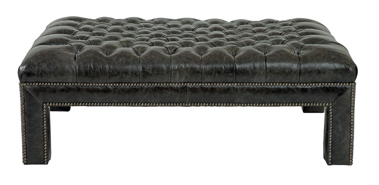 Peachy Custom Made Lionel Leather Tufted Ottoman By Mortise Theyellowbook Wood Chair Design Ideas Theyellowbookinfo
