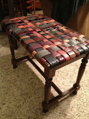 Custom Made Piano Bench Covered With Woven Leather Recycled Belts