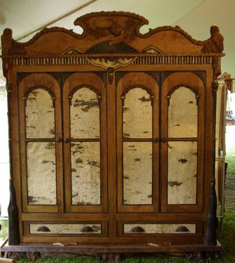 Custom Made Adirondack Rustic Armoire Cabinet With Owl Carvings