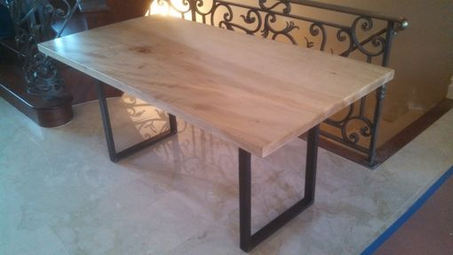 Custom Made Maple Table 6' 0r 8' Tigged Metal Base