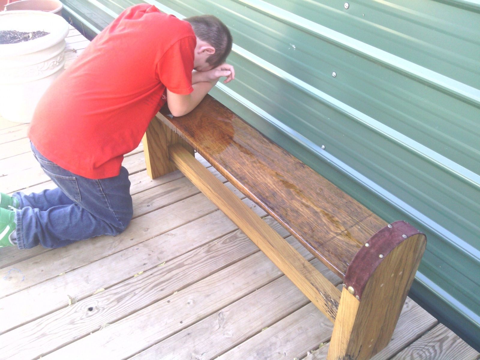 Custom Made Oak Prayer Bench