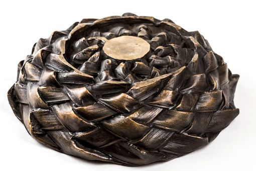 Custom Made Cast Woven Palms Bronze Bowl