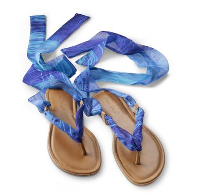 Custom Made Handmade Leather And Silk Chiffon Sandals