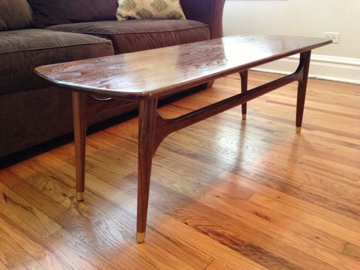 Custom Made Walnut & Brass Mid-Century Inspired Coffee Table