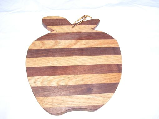 Custom Made Walnut And Oak Made Apple Shaped Cutting Board