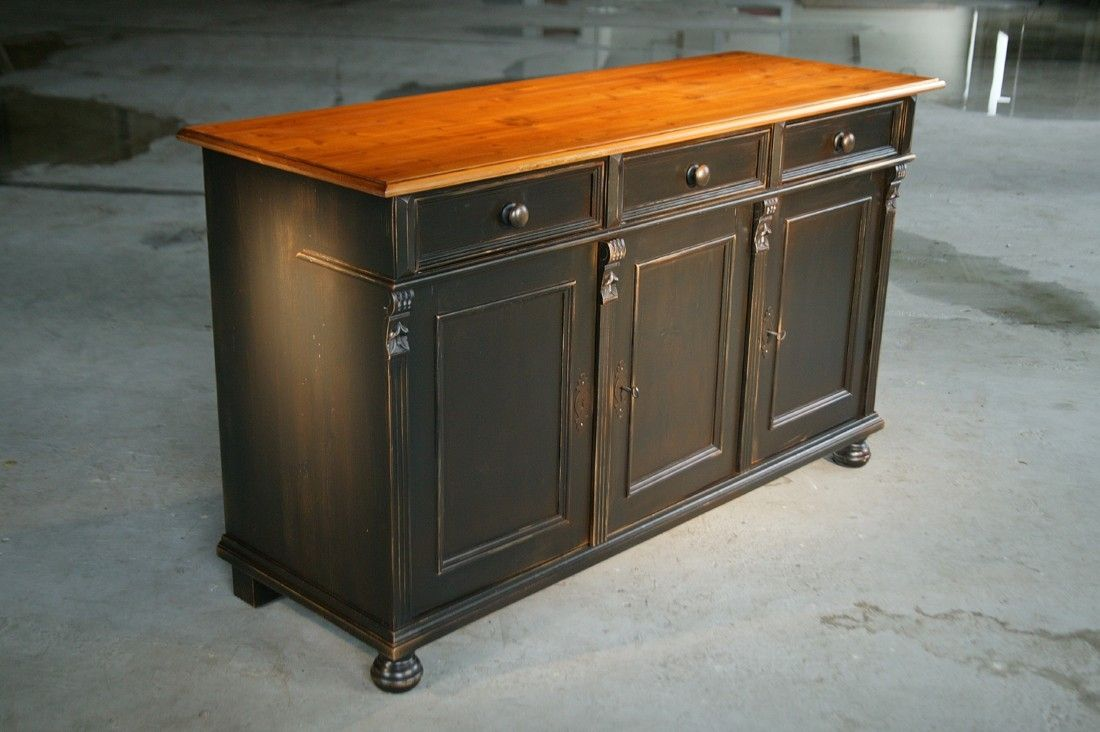 Custom made black kitchen island from reclaimed pine for Custom made kitchen islands