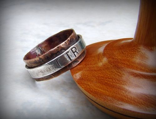 Custom Made Copper And Silver Hand Stamped Ring