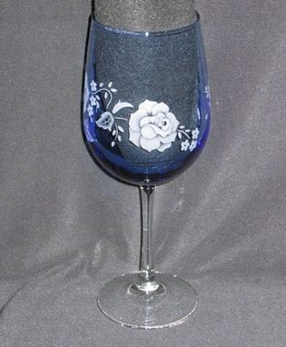 Custom Made Decorative Blue Wine Glass