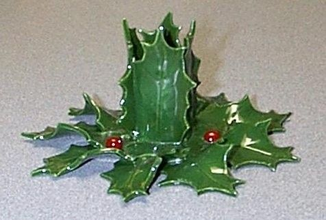 Custom Made Holly Leaf Ceramic Candleholder