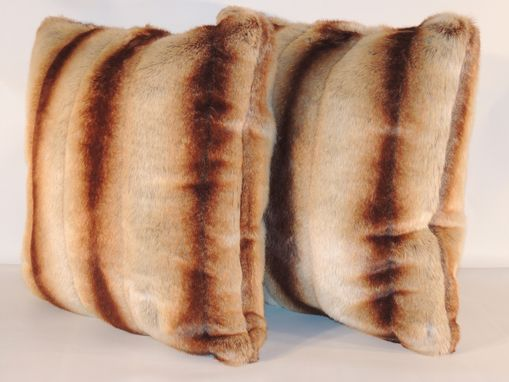 Custom Made Sheared Chinchilla Gold Beige Faux Fur 18 X 18 In. Decorative Pillow - Set Of 2