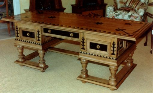 Custom Made Russian Desk In Quarter Sawn White Oak With Ebony Inlays Etc.