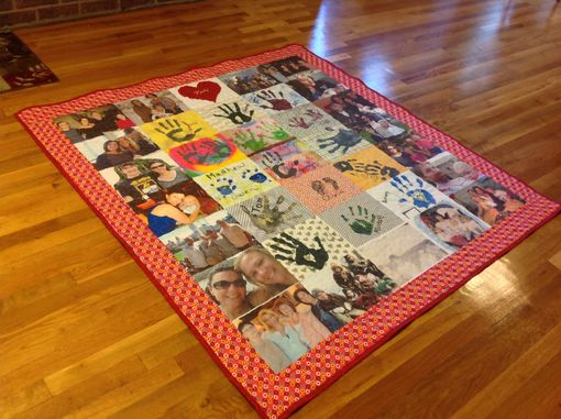 Custom Made Custom Handprint Photo Memory Quilt With Applique And Embroidery