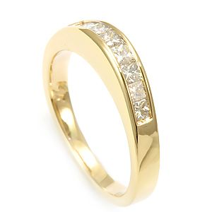 Custom Made Princess Diamond Band In 14k Yellow Gold, Wedding Band, Semi Eternity Band