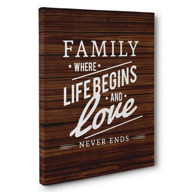 Custom Made Family Where Life Begins Canvas Wall Art